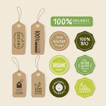 Set van biologisch voedsel tag en label sticker ontwerp
