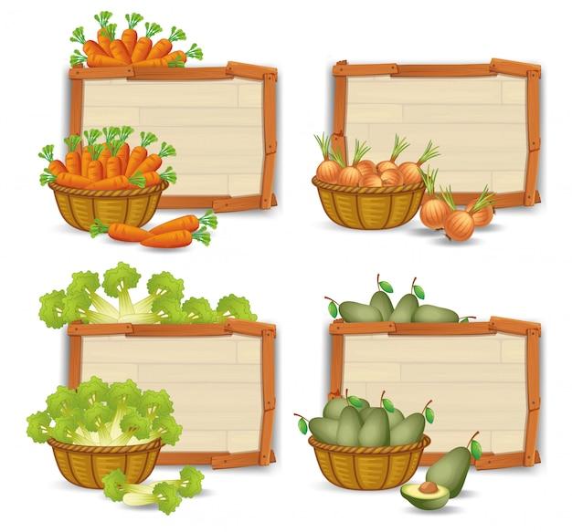 Set van biologische groente op houten bord