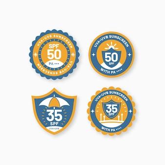 Set van biologische platte uv-badges