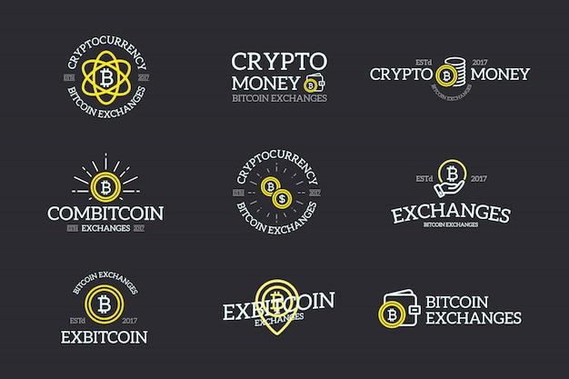 Set van bitcoin, cryptocurrency-labels