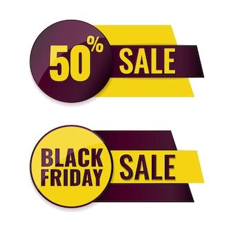 Set van black friday-banners. reclame label concept.