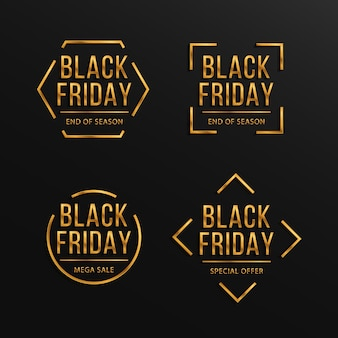 Set van black friday luxe verkoop banner gouden tekst belettering verkoop banner poster logo