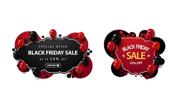 Set van black friday-verkoopkortingsbanners in graffitistijl met rode en zwarte ballonnen geïsoleerd op een witte achtergrond