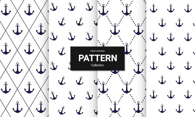 Set van blauw anker naadloos patroon op wit