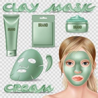 Set van blauw foliemasker en scrub voor gezicht.