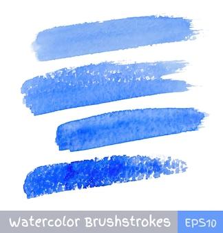 Set van blauwe aquarel penseelstreken, vectorillustratie