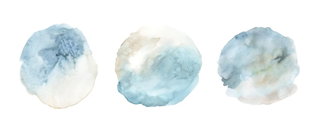 Set van blauwe aquarel verf vlek achtergrond hand geschilderd. abstracte cirkel vorm aquarel textuur geïsoleerd op een witte achtergrond.
