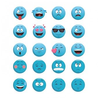 Set van blauwe chat-emoticons