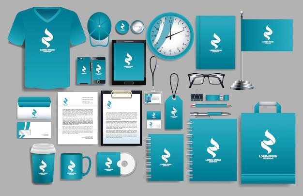 Set van blauwe elementen met sjablonen voor briefpapier