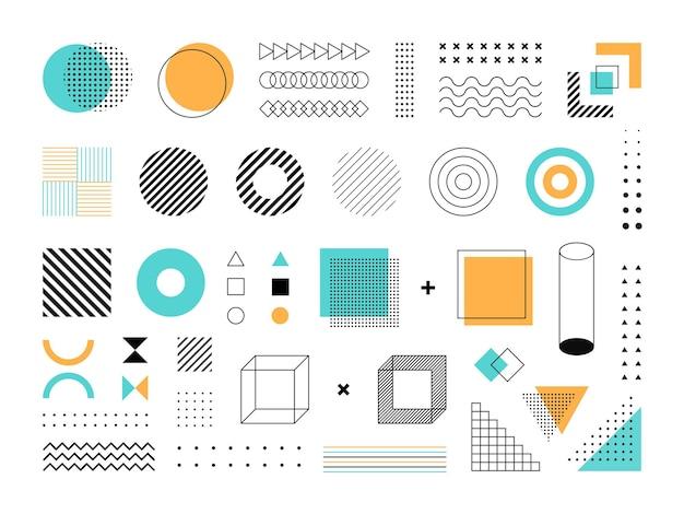 Set van blauwe, gele en zwarte geometrische pictogrammen op witte achtergrond