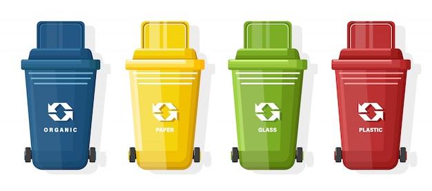 Set van blauwe, gele, groene en rode vuilnisbak met deksel en ecologieteken