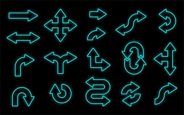 Set van blauwe glanzende afgeronde pijlen geïsoleerd op zwarte achtergrond road navigatie of mediaspeler platte neon pictogrammen