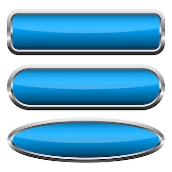 Set van blauwe glanzende knoppen. illustratie.