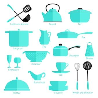 Set van blauwe kookgerei geïsoleerd op een witte achtergrond. keukengerei. vlak.
