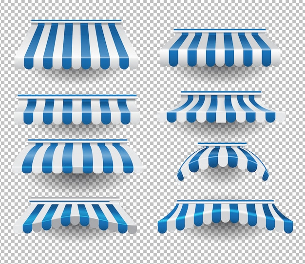 Set van blauwe luifels