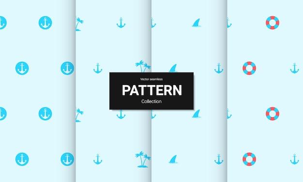 Set van blauwe naadloze patronen. vector naadloze nautische texturen.