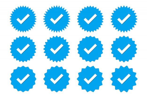 Set van blauwe profiel verificatie iconen. badges van garantie, goedkeuring, acceptatie en kwaliteit