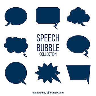 Set van blauwe spraakbellen