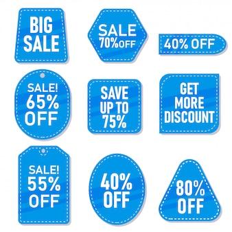 Set van blauwe verkoop tags, label en stickers met verschillende kortingen