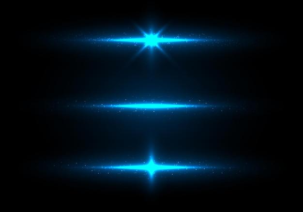 Set van blauwe verlichting gloeiende sprankelende glitter achtergrond