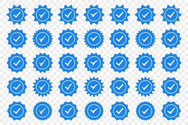 Set van blauwe vinkje badge pictogrammen. pictogrammen voor profielverificatie