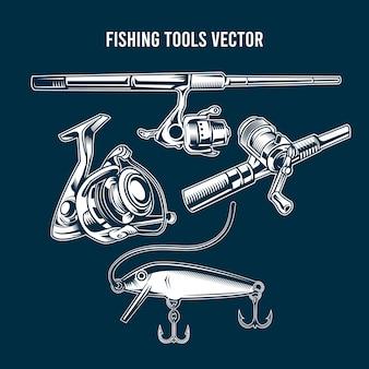 Set van blauwe vissen tools