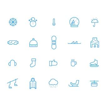 Set van blauwe winter pictogram