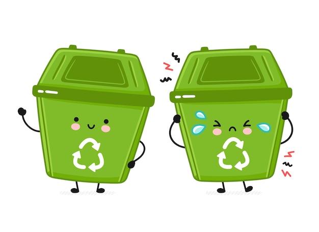 Set van blij en verdrietig vuilnisbak