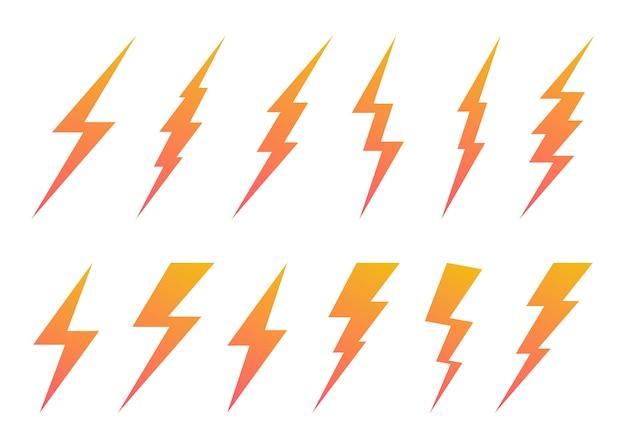 Set van bliksemschicht symbool.