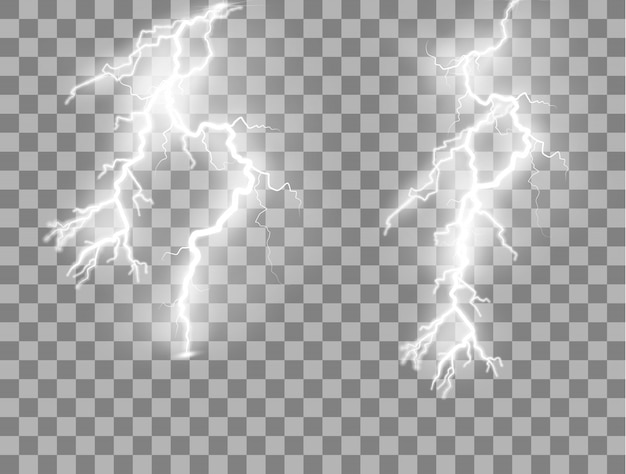 Set van bliksemschichten magische en heldere lichteffecten.
