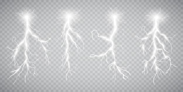 Set van bliksemschichten. onweer en bliksemschichten. magie.