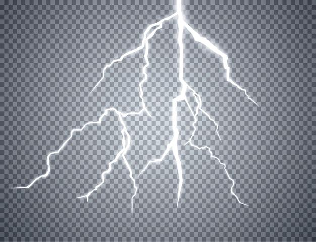 Set van bliksemschichten op transparant
