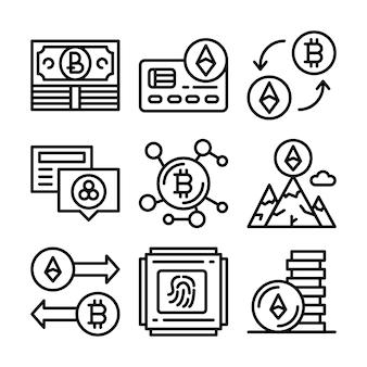 Set van blockchain-pictogrammen