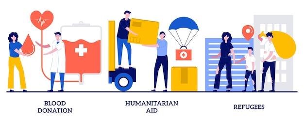 Set van bloeddonatie, humanitaire hulp, vluchtelingen, medische vrijwillige hulp