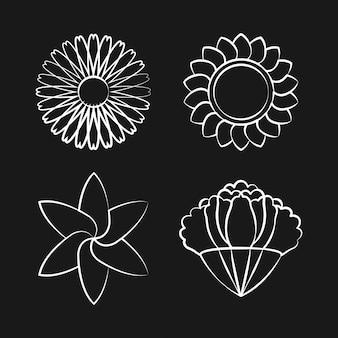 Set van bloeiende bloem tekening ontwerp vector