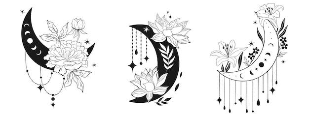 Set van bloeiende manen met decoratieve elementen geïsoleerd op een witte achtergrond. vectorafbeeldingen.