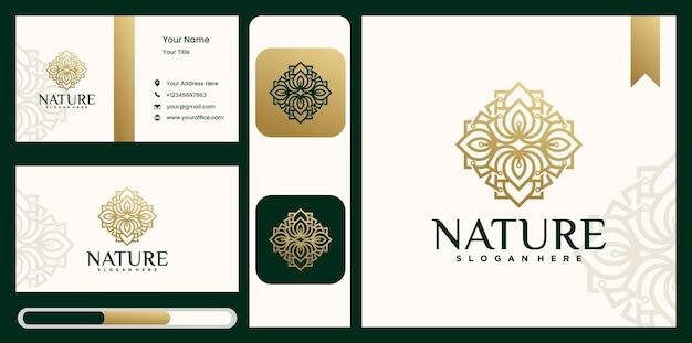 Set van bloem blad logo natuur bloemen monogram logo sjabloon