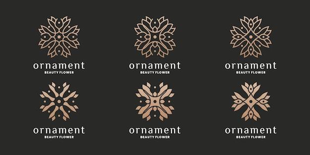 Set van bloem, bloemen, ornament logo design collectie