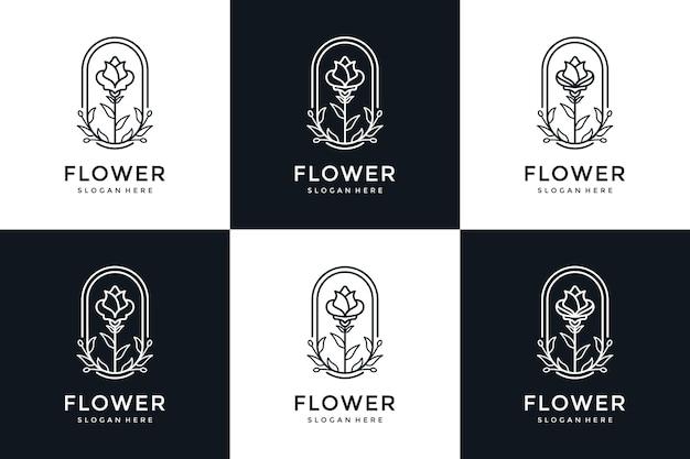 Set van bloem logo-ontwerp in lijn kunststijl