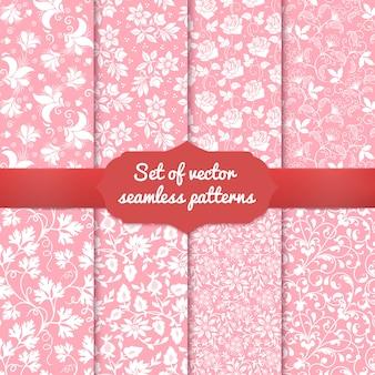 Set van bloem naadloze patroon achtergronden.
