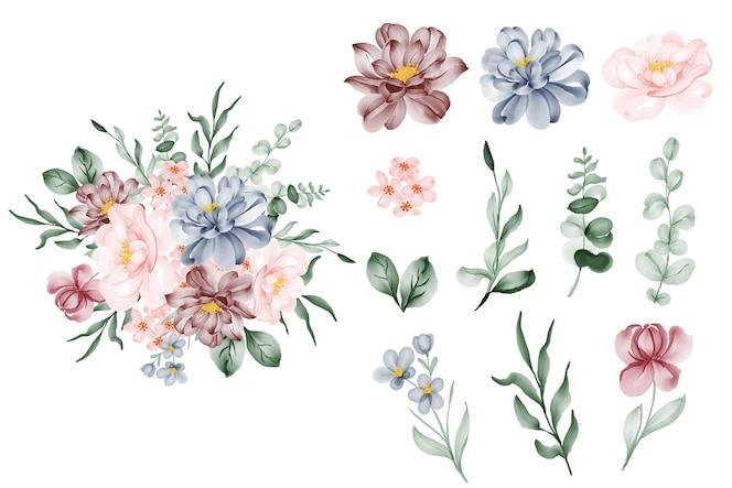 Set van bloem roze blauw en blad geïsoleerde clip-art