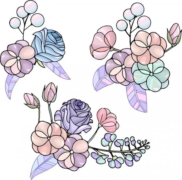 Set van bloemen boeketten