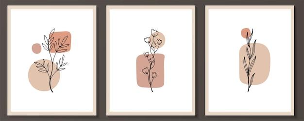Set van bloemen doorlopende lijntekeningen