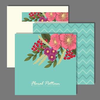 Set van bloemen frame met kleurrijke bloem.
