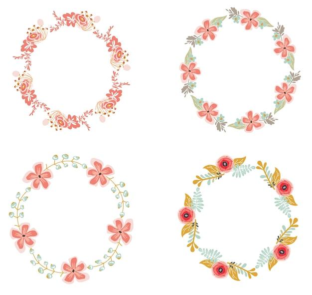 Set van bloemen krans voor bruiloft