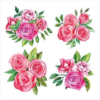 Set van bloemen roze roos aquarel