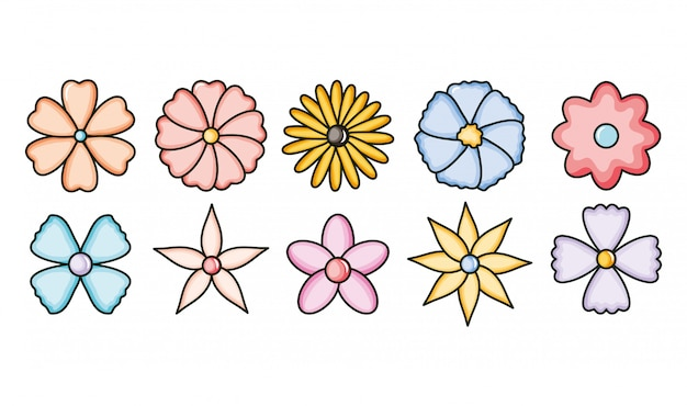 Set van bloemen tuin