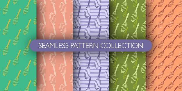 Set van bloemkroon silhouetten naadloze doodle patroon. keuken mengapparatuur collecties.