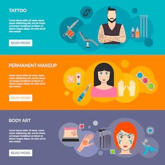 Set van body art tattoo make-up met beschrijving