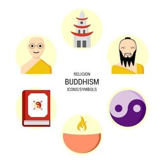 Set van boeddhisme iconen